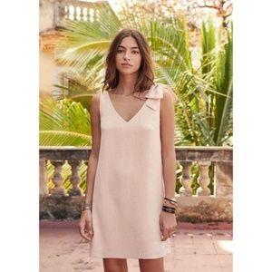 Sezane Blush Pink Pauline Bow Shoulder Dress